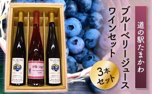 【道の駅たまかわ】ブルーベリージュース・ワインセット